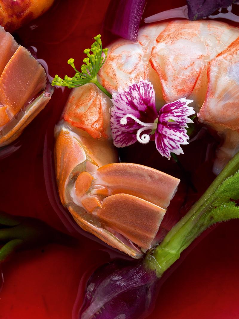 Langoustine, Hibiscus Bouillon by Kei Kobayashi © Richard Haughton