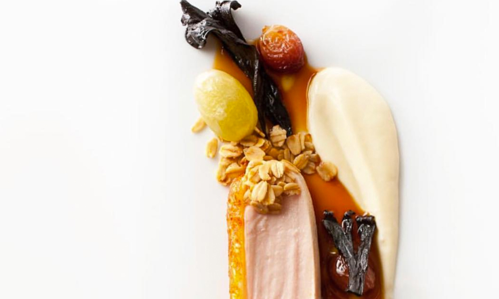 Guinea fowl, parsnips, grapes, and oats by Daniel Humm of Eleven Madison Park, NYC.
